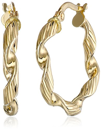 14k Yellow Gold Italian Twisted Hoop Earrings